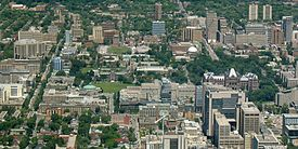 Discovery District comprising the vicinity of the University of Toronto and its research hospitals, visible from the CN Tower