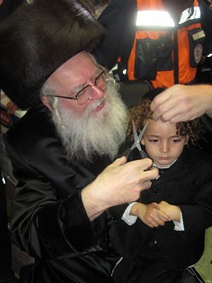 Upsherin - Upsherin celebration of Rabbi Shimon bar Yochai, by Rabbi Eliezer Shlomo Schick