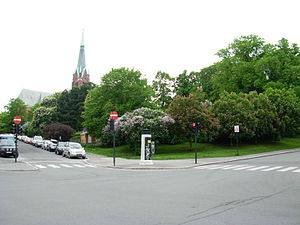 Uranienborg, Norway - Uranienborg park with spire of Uranienborg Church