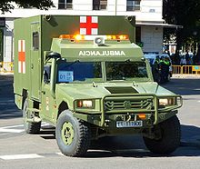 An URO VAMTAC Ambulance Of The Spanish Army Emblazoned With Red Cross