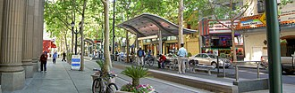 Santa Clara Valley Transportation Authority light rail - Santa Clara Station in Downtown San Jose.