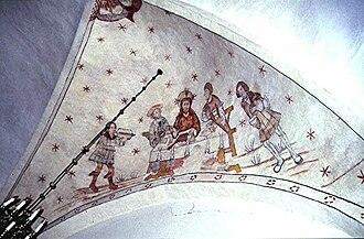 Væggerløse Church - Image: Vaeggerlose 17Tårnrum østkappe, Middag i Emmaus (1)