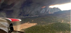 Valley Fire - The fire created a wall of flames and smoke across Lake County, California.
