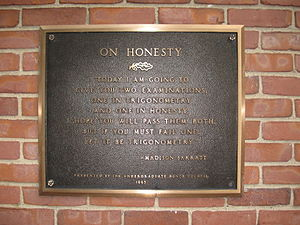 English: The principles of the honor code were...