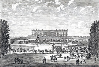 History of the Palace of Versailles - View of the garden front, 1674, after the second building capmpaign, engraving by Israël Silvestre