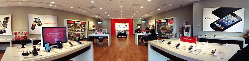 A panoramic view within a Verizon Wireless Store, Norwalk, CT, USA