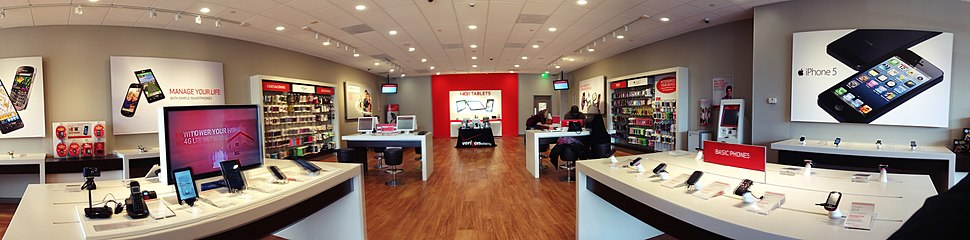A panoramic view within a Verizon Wireless store, Norwalk, Connecticut, 2012.
