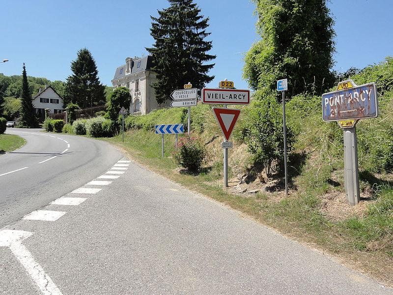Viel-Arcy (Aisne) city limit sign