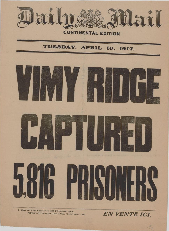 VimyDailMailFrontPage10April1917