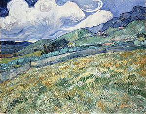 The Wheat Field - Mountainous Landscape Behind Saint-Rémy, June 1889, Ny Carlsberg Glyptotek, Copenhagen (F611 )