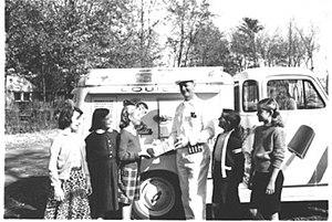A vintage ice cream truck