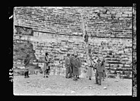 Visit of H.R.H. the Crown Prince of Sweden in December 1934. The Prince & his party in the Roman theatre of Amman LOC matpc.18634.jpg