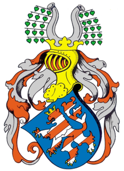 Coat of arms of the landgraves of Thuringia (1265) Vollwappen Wettiner Landgraf Albrecht 1265.png