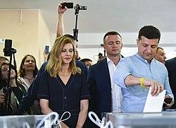 Volodymyr Zelenskyy voted in parliamentary elections (2019-07-21) 04.jpg