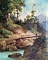 Waldlandschaft mit Brücke - Adolf Chwala 1862.jpg