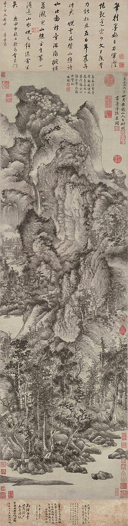 Wang Meng Dwelling in the Qingbian Mountains. ink on paper. 1366. 141x42,2 cm. Shanghai Museum.jpg