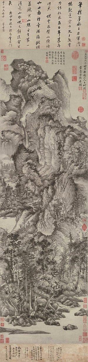 Wang Meng (artist) - Image: Wang Meng Dwelling in the Qingbian Mountains. ink on paper. 1366. 141x 42,2 cm. Shanghai Museum