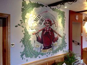 Warren James - Stylised mural of Warren James at The Fountain Inn, Parkend.