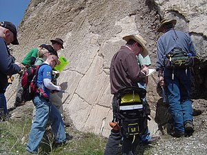 Wasatch Fault - Students look at a section of the exposed Wasatch Fault, a classic normal fault
