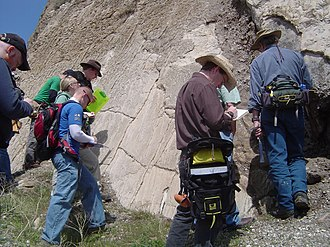 Extensional fault - Students examine an extensional fault, up close
