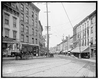 Newburgh, New York - Water Street in Newburgh, photo taken circa 1906.  The buildings on the street were demolished as part of urban renewal efforts in the 1960s and 1970s.