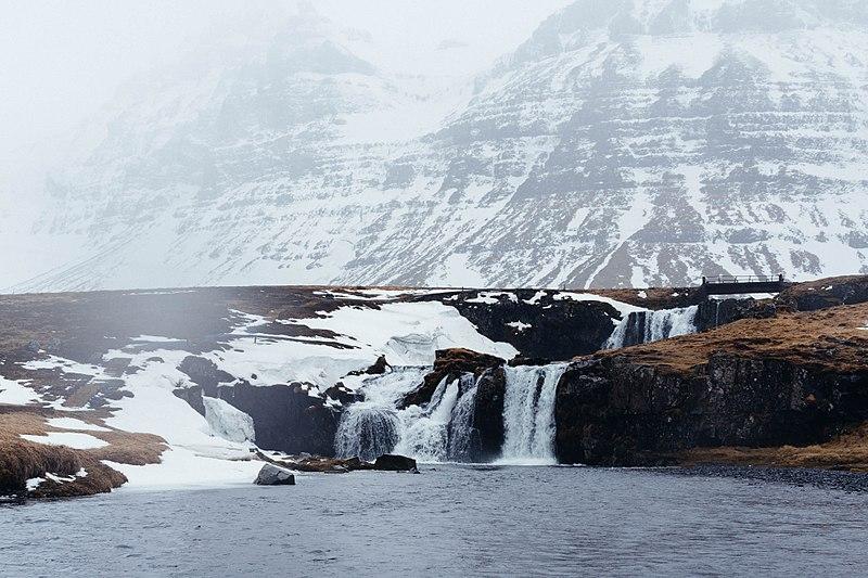 File:Waterfalls at snowy mountain (Unsplash).jpg
