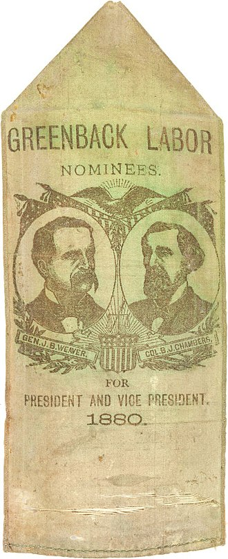 United States presidential election, 1880 - Weaver–Chambers campaign ribbon