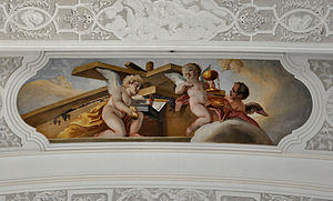 Christ in the winepress - An depiction by Cosmas Damian Asam (1718-20) omits the figure of Christ
