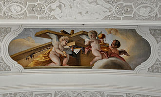 Christ in the winepress - A depiction by Cosmas Damian Asam (1718-20) omits the figure of Christ