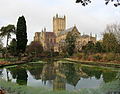 Wells Cathedral east end from reflecting pool.jpg