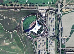 Shoreline Amphitheatre - Aerial photograph of Shoreline Amphitheatre, with the parking lots and the neighboring golf course.