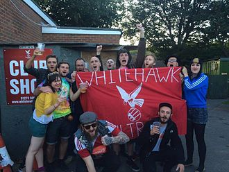 Whitehawk F.C. - Whitehawk Ultras following a home game against Dulwich Hamlet