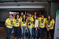Wikimedia Mexico volunteers on first day of Wikimania 2015 01.JPG