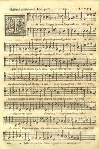 Adrian Willaert -  Music notation from Adrian Willaert's Musica Nova (1568)