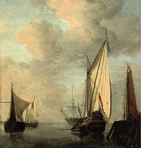 Willem van de Velde de Jonge (atelier) - Schepen op een steiger in rustig water.jpg