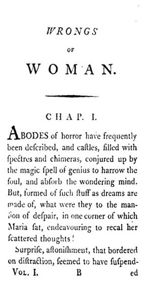Maria: or, The Wrongs of Woman - First page of The Wrongs of Woman