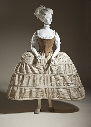 Pannier (clothing) - Hoop skirt or pannier, English, 1750-80. Plain-woven linen and cane.