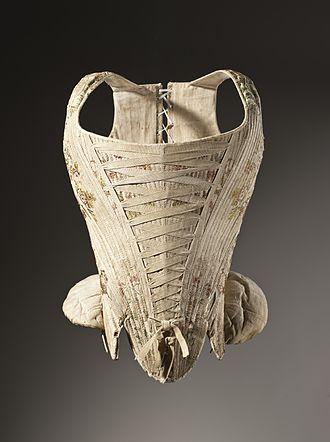 History of corsets - Image: Woman's corset figured silk 1730 1740