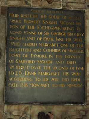 Margaret Bromley - Epitaph of Edward Bromley, Worfield.