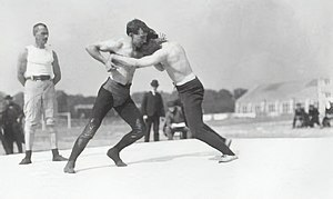 English: Wrestling match during 1904 Summer Ol...