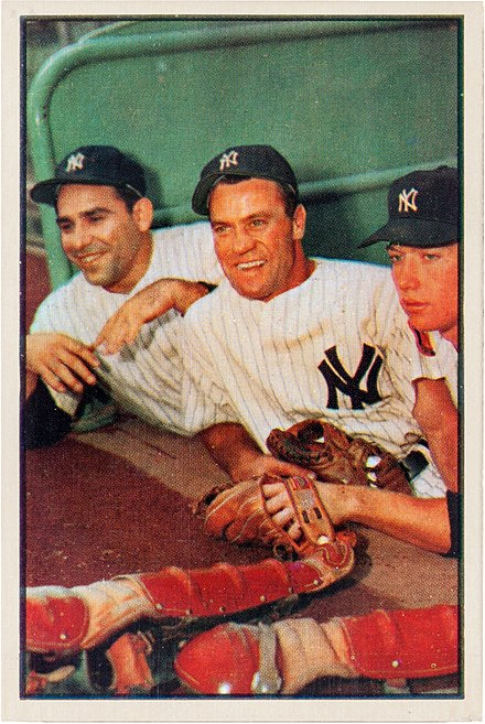 Berra with Hank Bauer and Mickey Mantle, 1953 Yogi Berra, Hank Bauer, Mickey Mantle.jpg