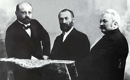 "The Hungarian ""ZBD"" Team (Karoly Zipernowsky, Otto Blathy, Miksa Deri), inventors of the first high efficiency, closed-core shunt connection transformer ZBD team.jpg"