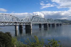 Krasnoyarsk Bridge - The new Krasnoyarsk Bridge, as viewed from the left bank of the river