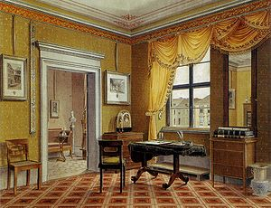 Biedermeier - Zimmerbild (chamber painting) of a Biedermeier interior in Berlin: fitted carpets, unified window and pier-mirror draperies, and framed engravings in a restrained classicising style, c. 1825, by Leopold Zielcke (1791–1861)