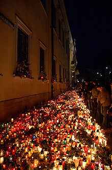 Candles burning in Kraków after the death of Pope John Paul II. & Ceremonial use of lights - Wikipedia