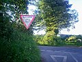 'Give Way' Sign near Crunwere House, Llanteg - geograph.org.uk - 1365021.jpg