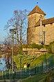 'Polnische Freiheitssäule' in Rapperswil, Ansicht vom Lindenhof, im Hintergrund der 'Pulverturm' des Schlosses und Kempraten (hinter den Bäumen) 2012-11-14 16-02-14.JPG