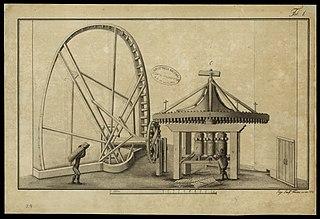 (Moagem de canas em uma moenda de cilindros verticais movida por uma roda hidráulica)