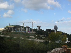 Črni Kal Viaduct - The Črni Kal Viaduct during the construction