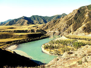 Altai flood - Diluvial terraces on Katun River, Altai Republic